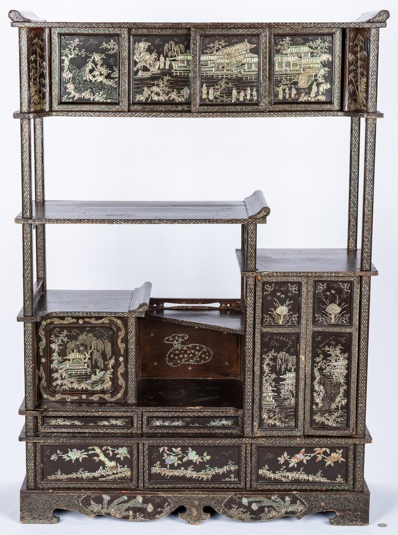 Lot 34: Korean Display Cabinet w/ Mother of Pearl Decoration