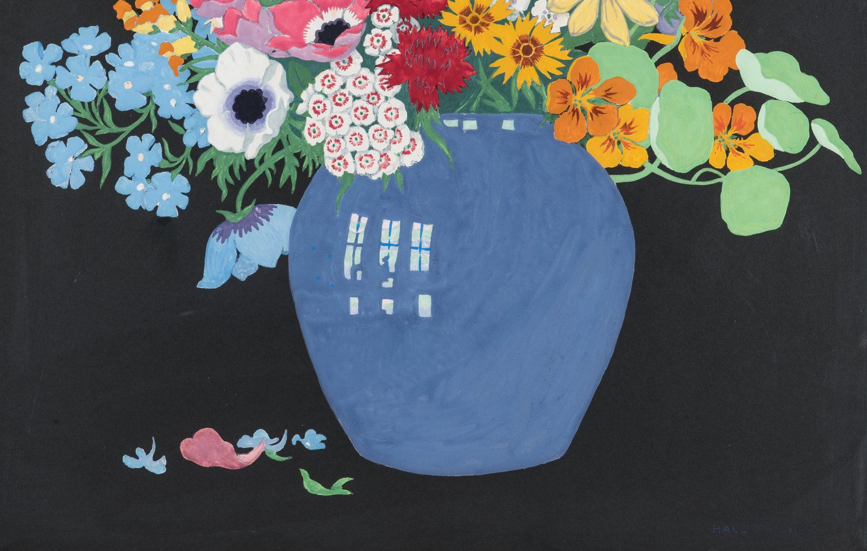 Lot 352: John Hall Thorpe Color Woodcut, Vase of Flowers