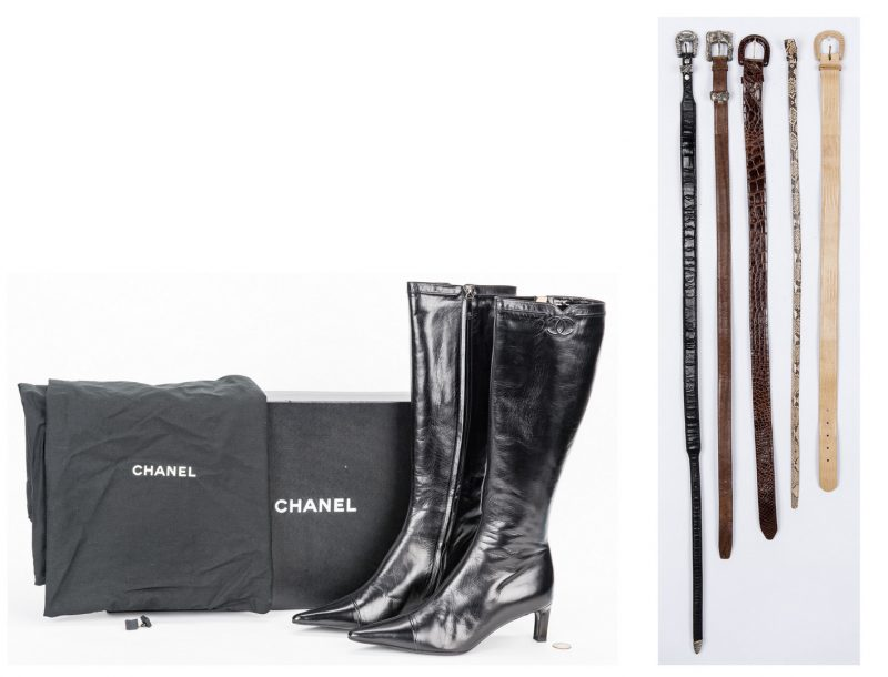 Lot 353: New Chanel Ladies Black Leather Boots & 5 Fashion Belts