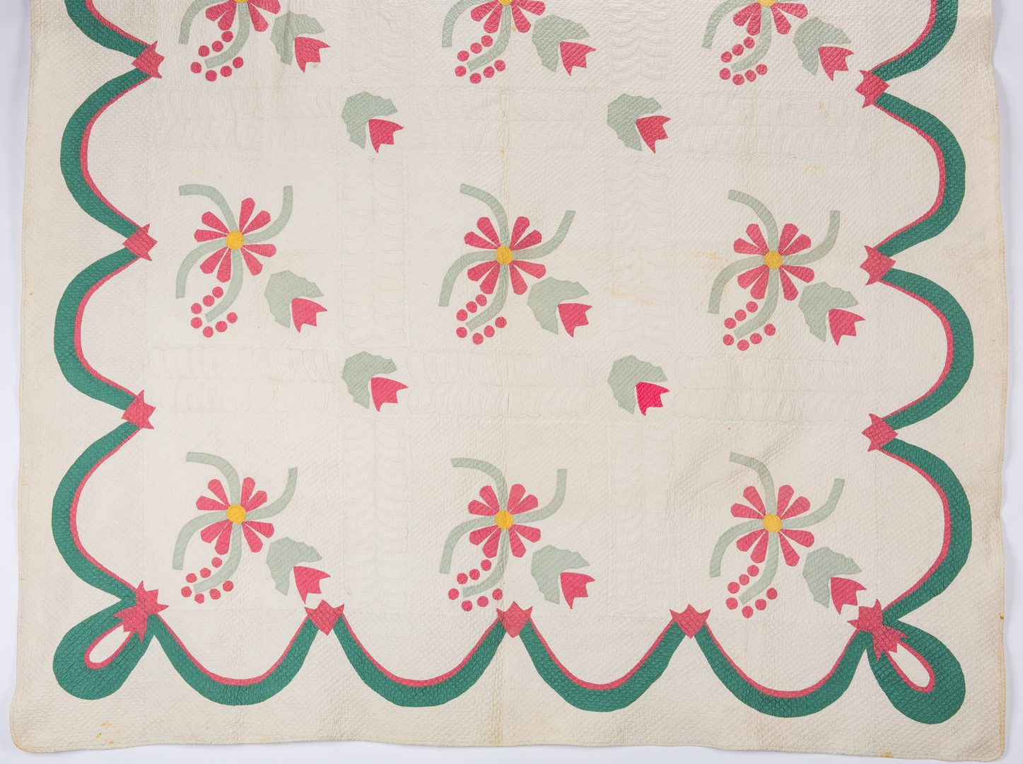 Lot 356: 2 Southern 19th c.  Floral Quilts