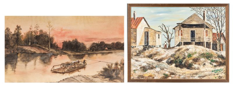 Lot 357: 2 Southern Folk Art Paintings incl. KY Ferry