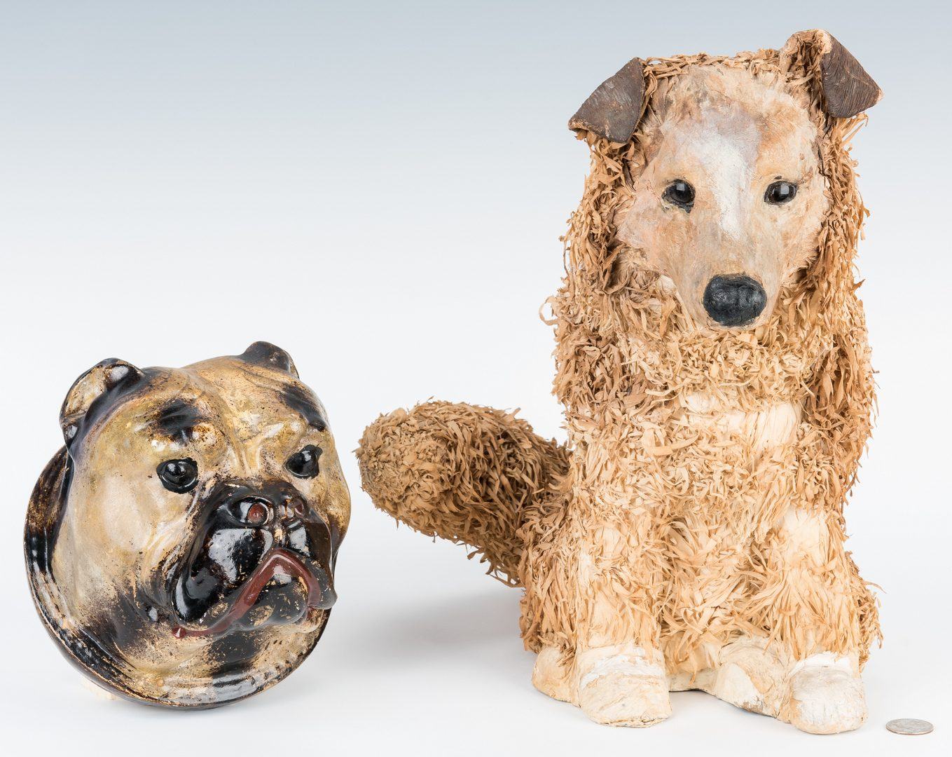 Lot 366: 2 Folk Art Dog Figurals, incl. Paper Mache