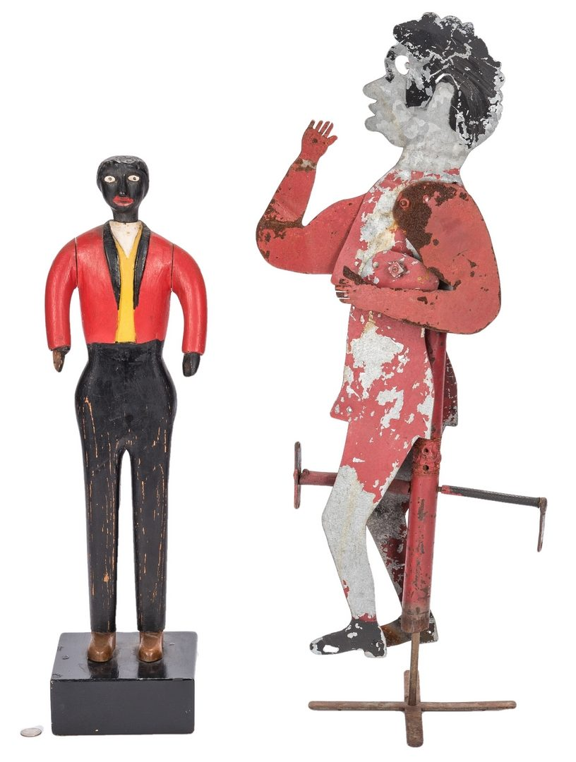 Lot 367: 2 Folk Black Americana Painted Items