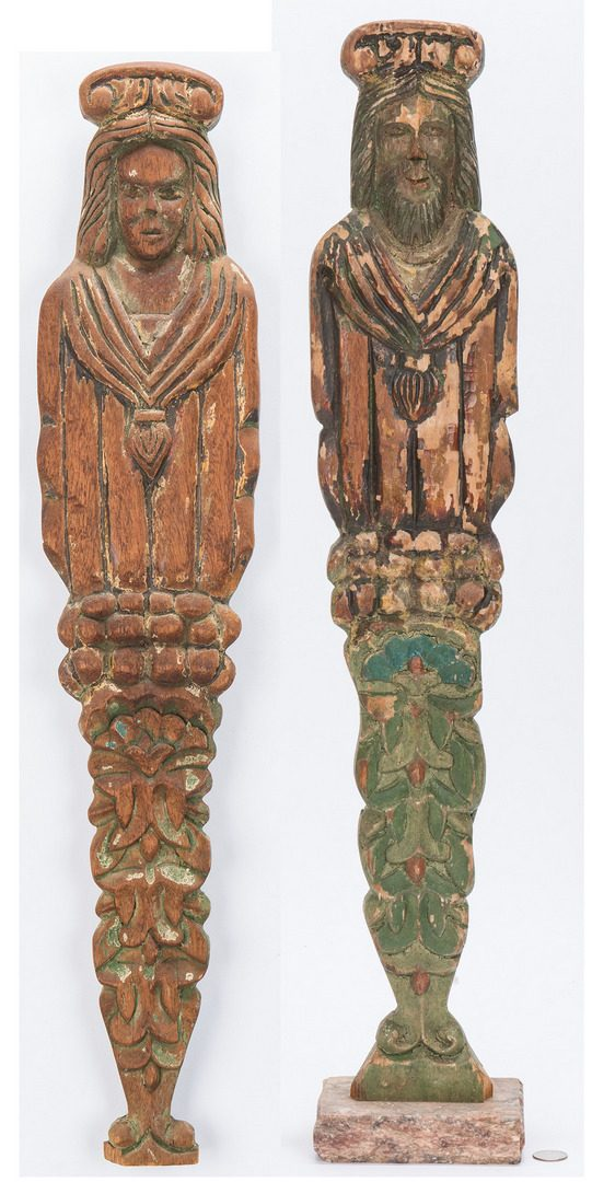 Lot 368: Pr. Polychrome Painted Wood Figures, Male & Female