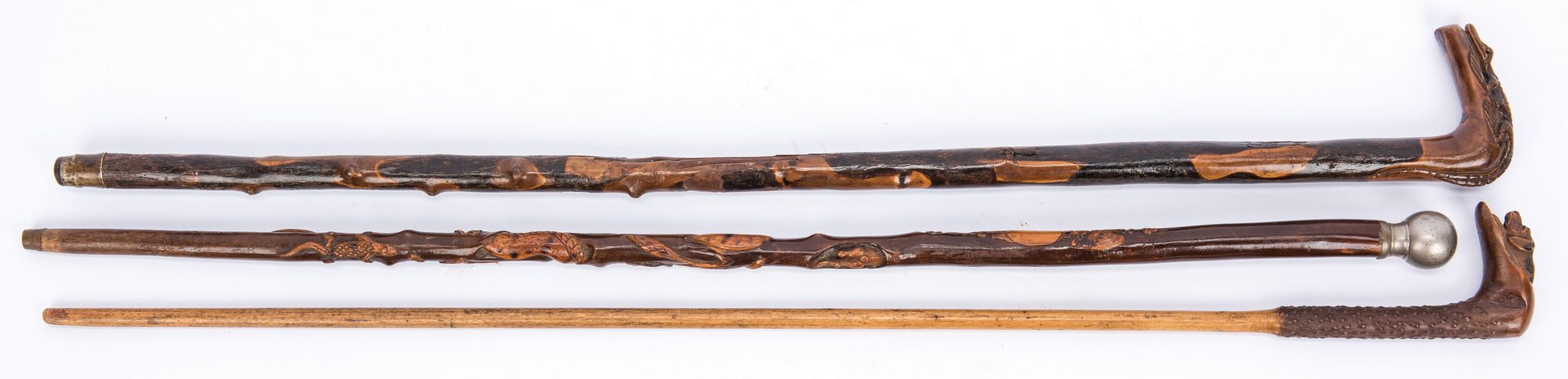 Lot 369: 6 European, American, Central American Carved Canes
