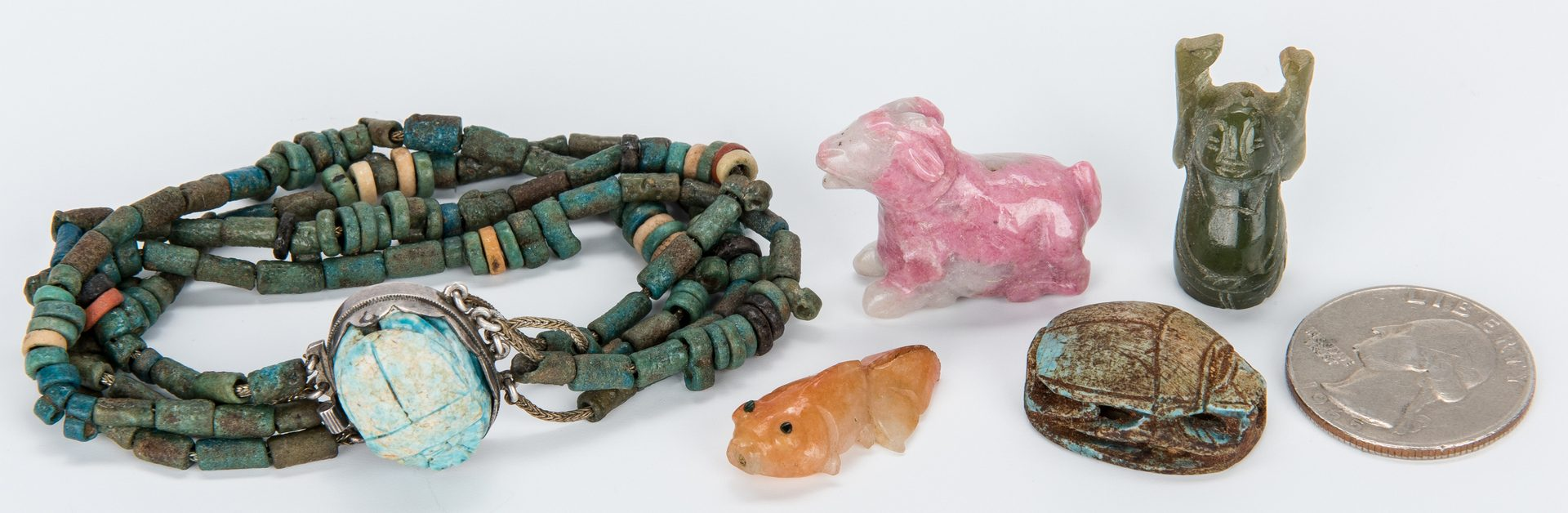 Lot 374: Scarab, Bracelet, & 3 Small Carvings Out of Stone