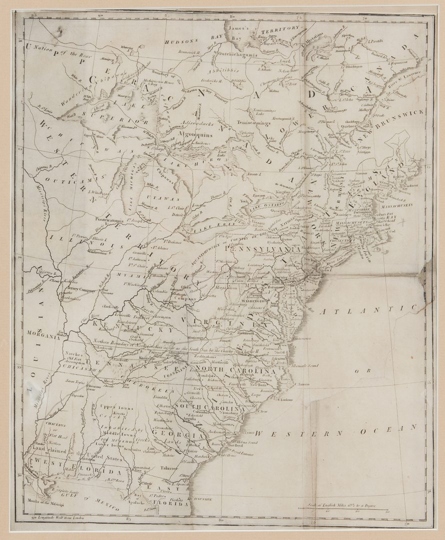 Lot 381: Michaux State of Franklinia Map and Book, 2 items