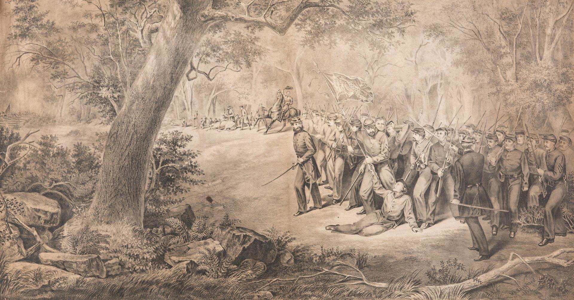 Lot 385: Civil War related CDVs, Signed Litho, Flag