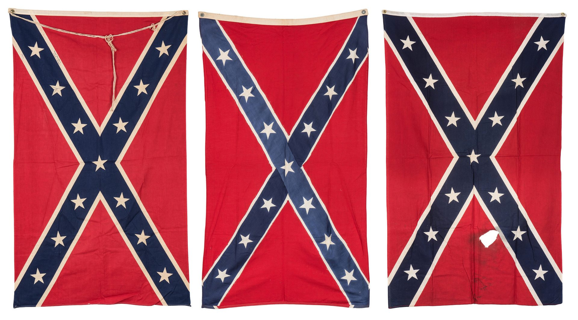 Lot 386: 3 Mid 20th Cent. Confederate Reunion Flags