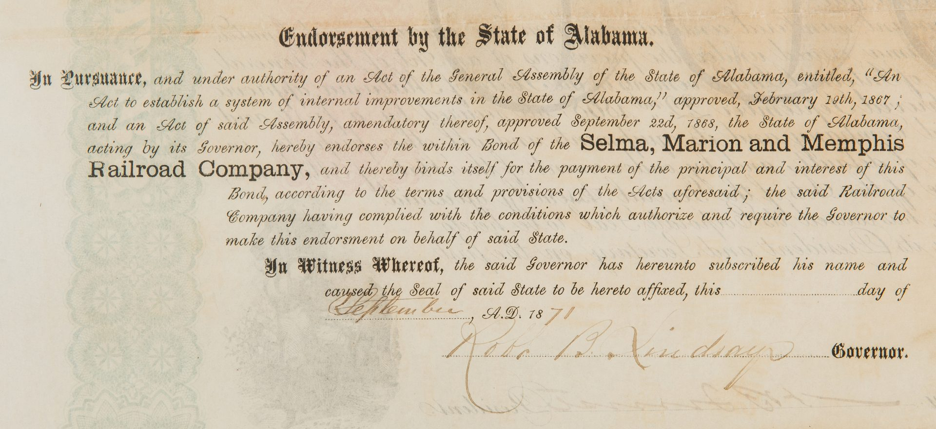 Lot 387: N.B. Forrest Signed Selma Marion Memphis Railroad $1000 Bond, 1869