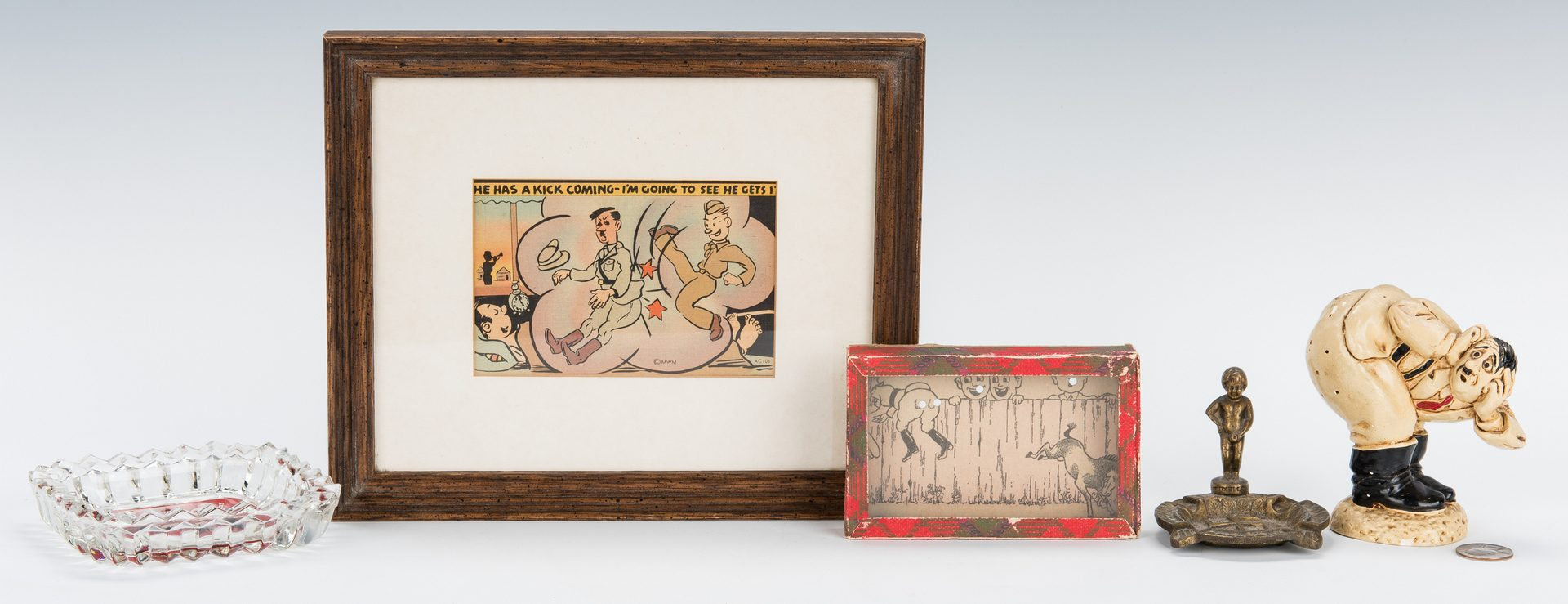 Lot 390: WWII Anti Hitler Collectibles incl. Ashtrays, Pin Cushion, Cartoon