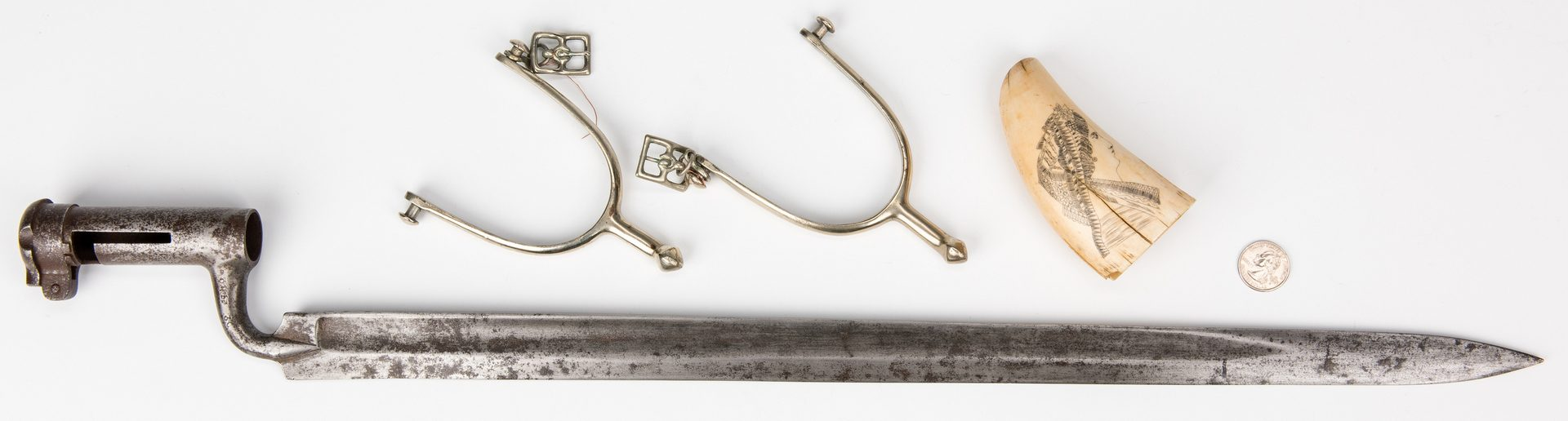 Lot 398: Scrimshaw, Bayonet, U.S. Model 1911 Cavalry Spurs,