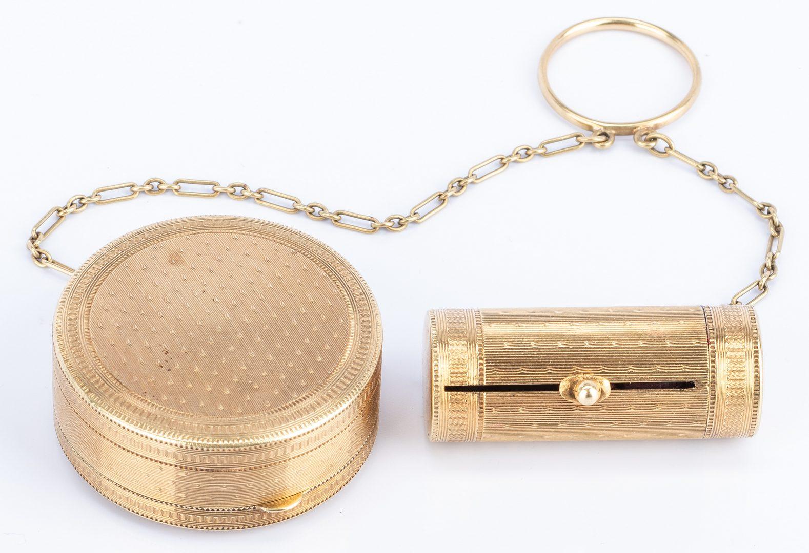 Lot 39: 14k Chatelaine Compact Lipstick Case