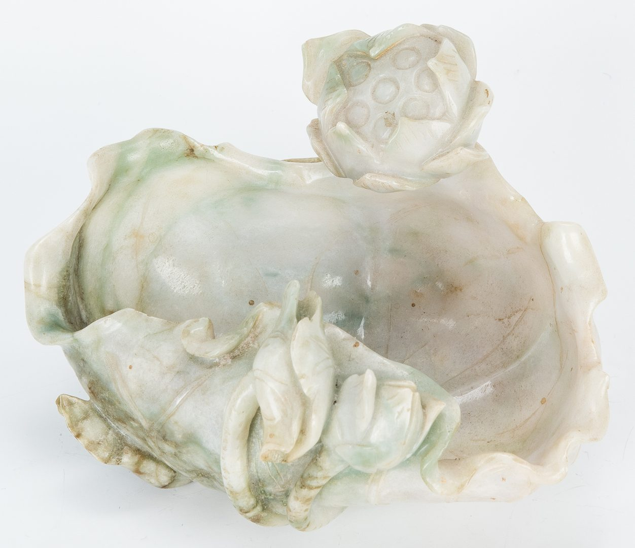Lot 3: Carved Jade Lotus Blossom Bowl w/ Stand