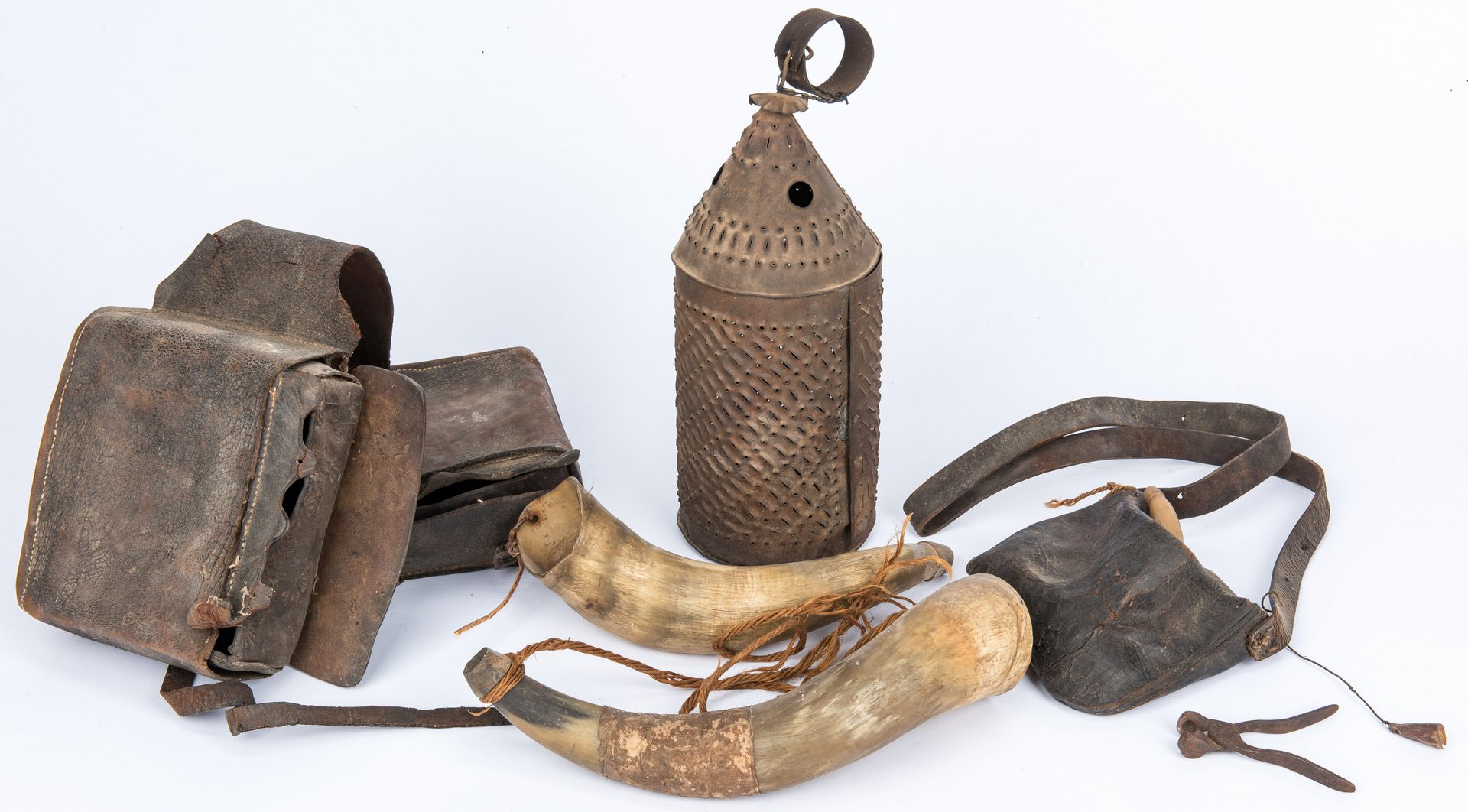 Lot 400: Grouping of Early Frontier Accessories, incl. Punched Lantern, Saddlebags