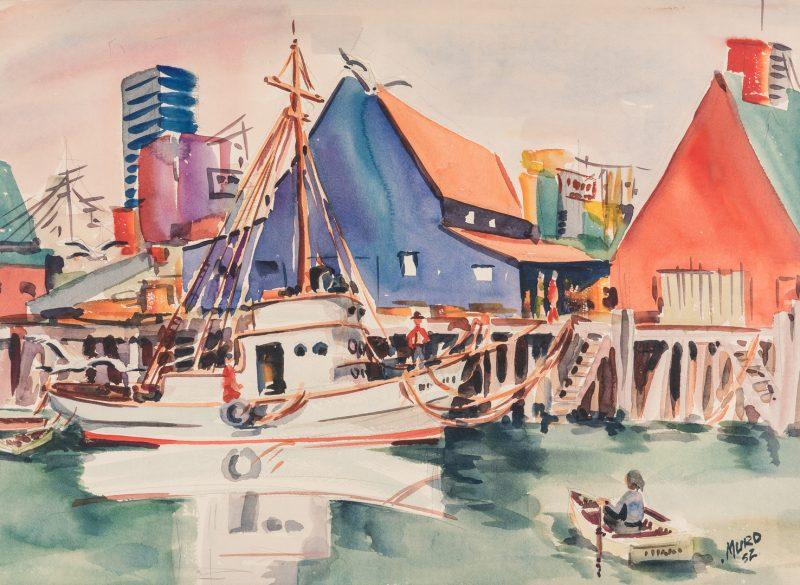 Lot 403: Signed American School Watercolor Harbor Scene