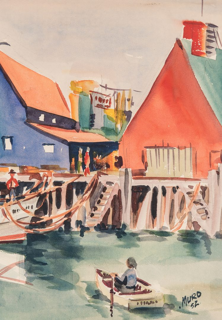 Lot 403: Signed American School Watercolor Harbor Scene