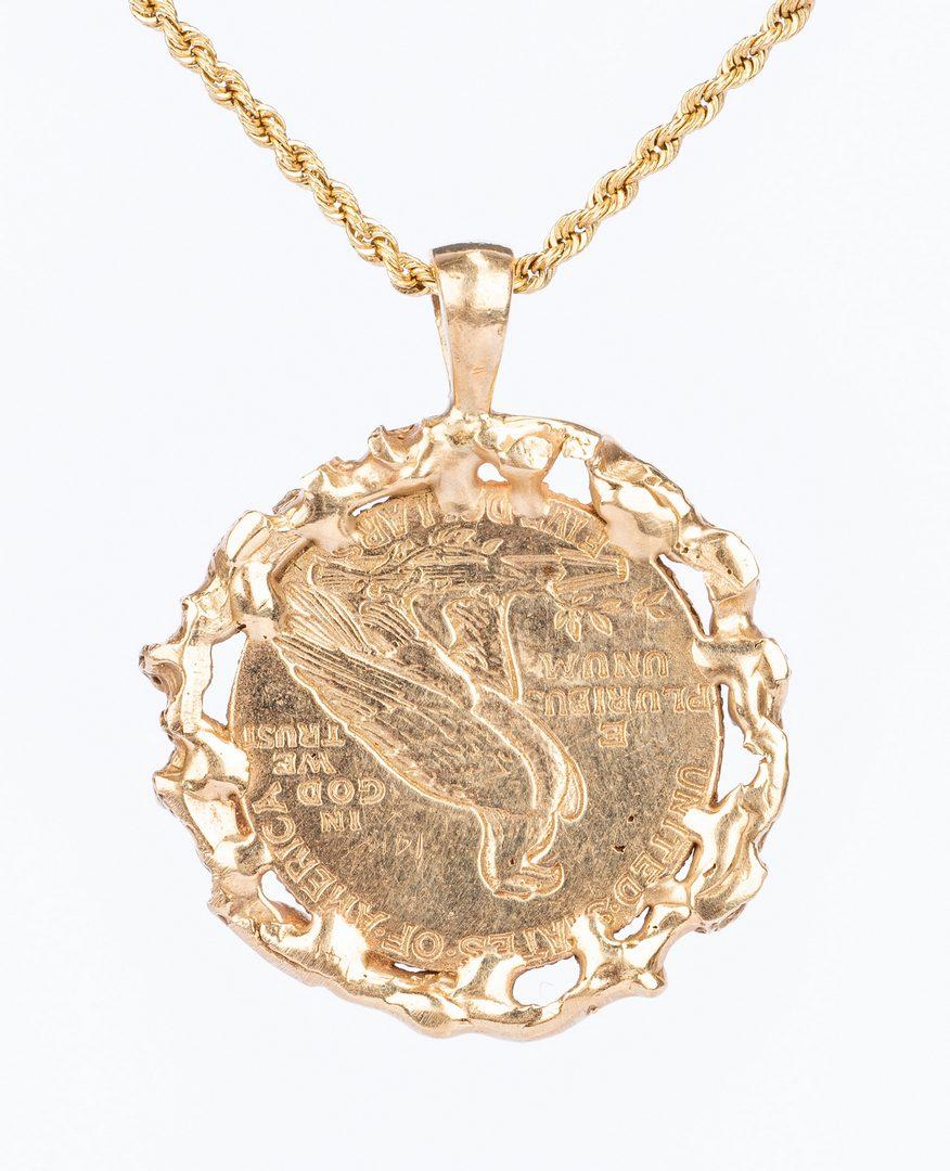 Lot 40: 4 14k Charm Pendant Necklaces