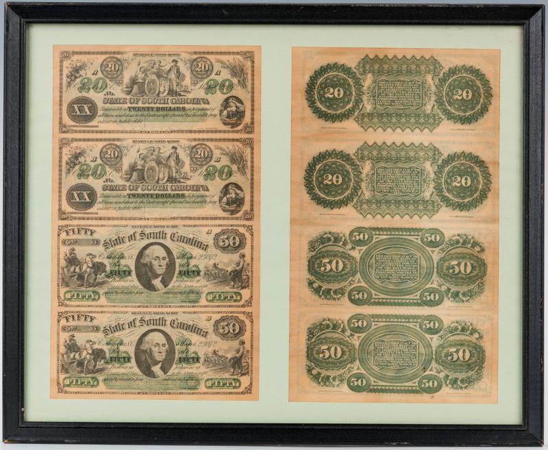 Lot 416: 2 Uncut Sheets of 1872 SC Revenue Bond Scrip