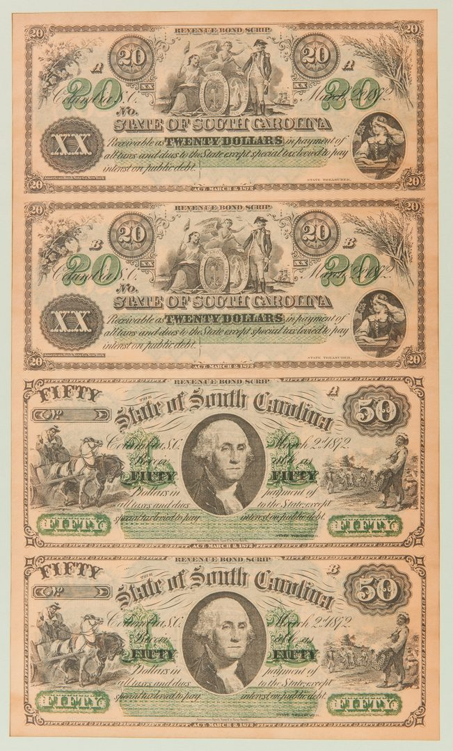 Lot 416: 2 Uncut Sheets of 1872 SC Revenue Bond Scrip