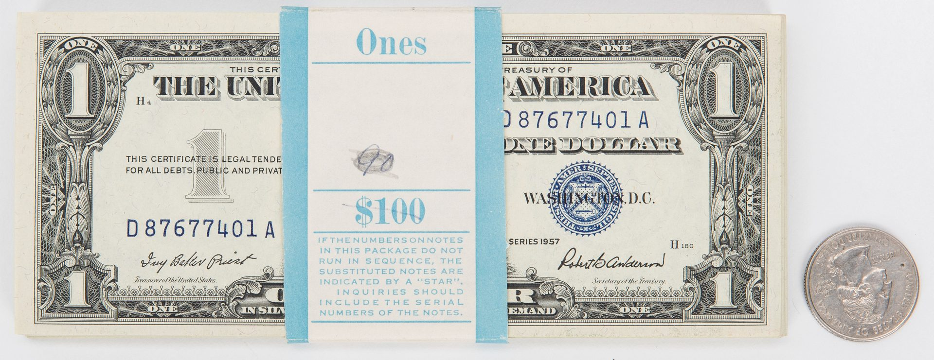 Lot 417: Pack of 100 1957 Silver Certificates