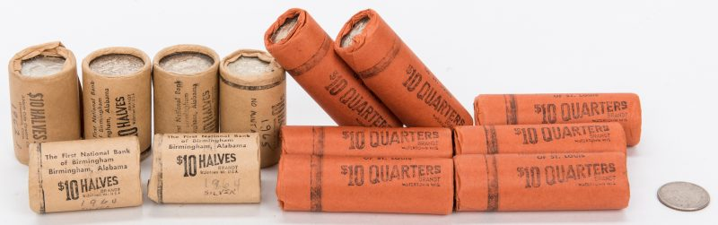Lot 418: 13 Rolls of Unc. Half Dollars and Quarters