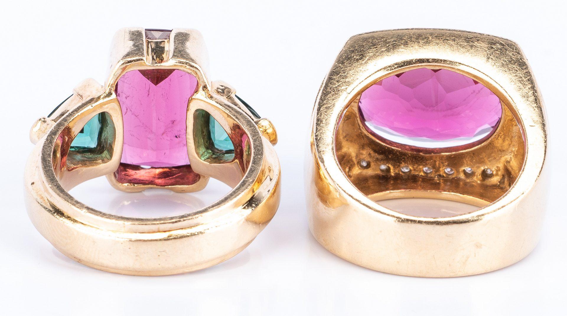 Lot 43: Two 14k Rhodolite Fashion Rings