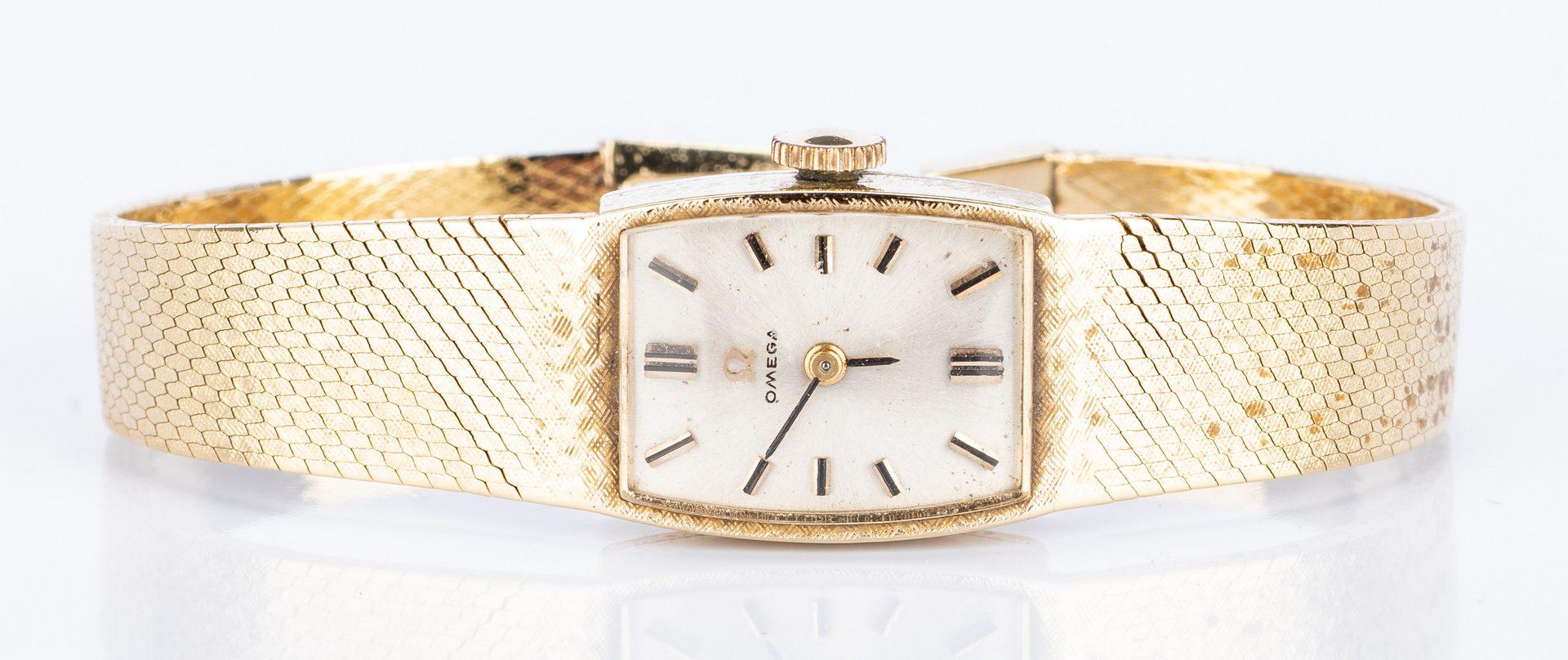 Lot 45: 14K Items: 2 Circle Pins & Omega Watch