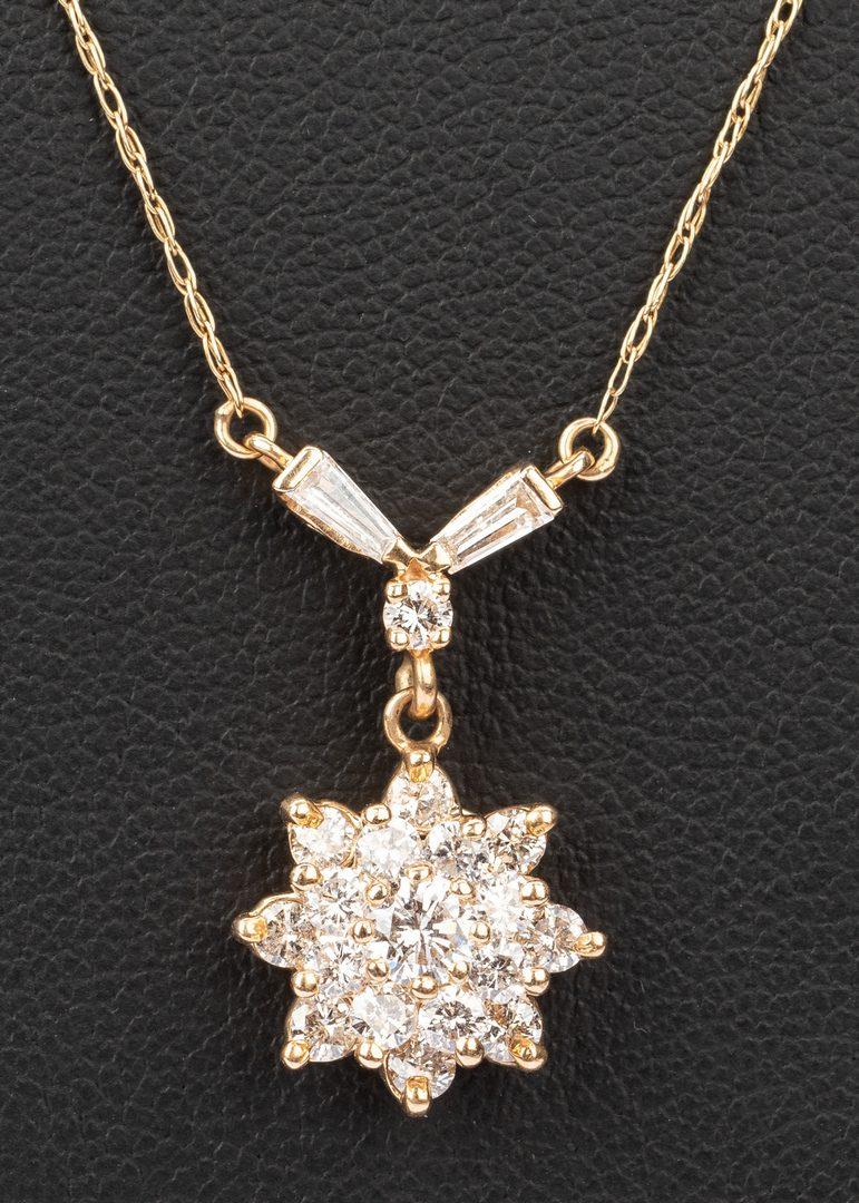 Lot 47: 14k Diamond Flower Cluster Pendant