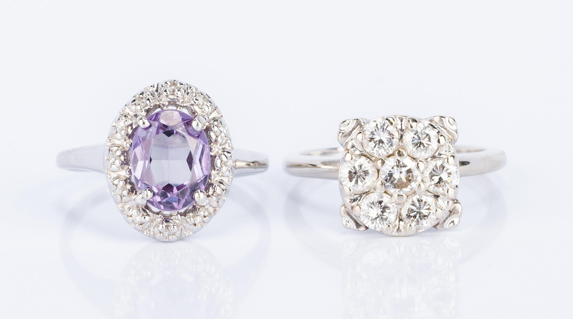 Lot 48: 3 14K diamond gemstone jewelry items