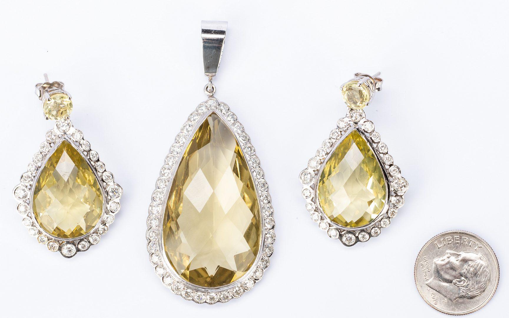 Lot 51: 18/14K Prasiolite, Diamond Semi-Parure