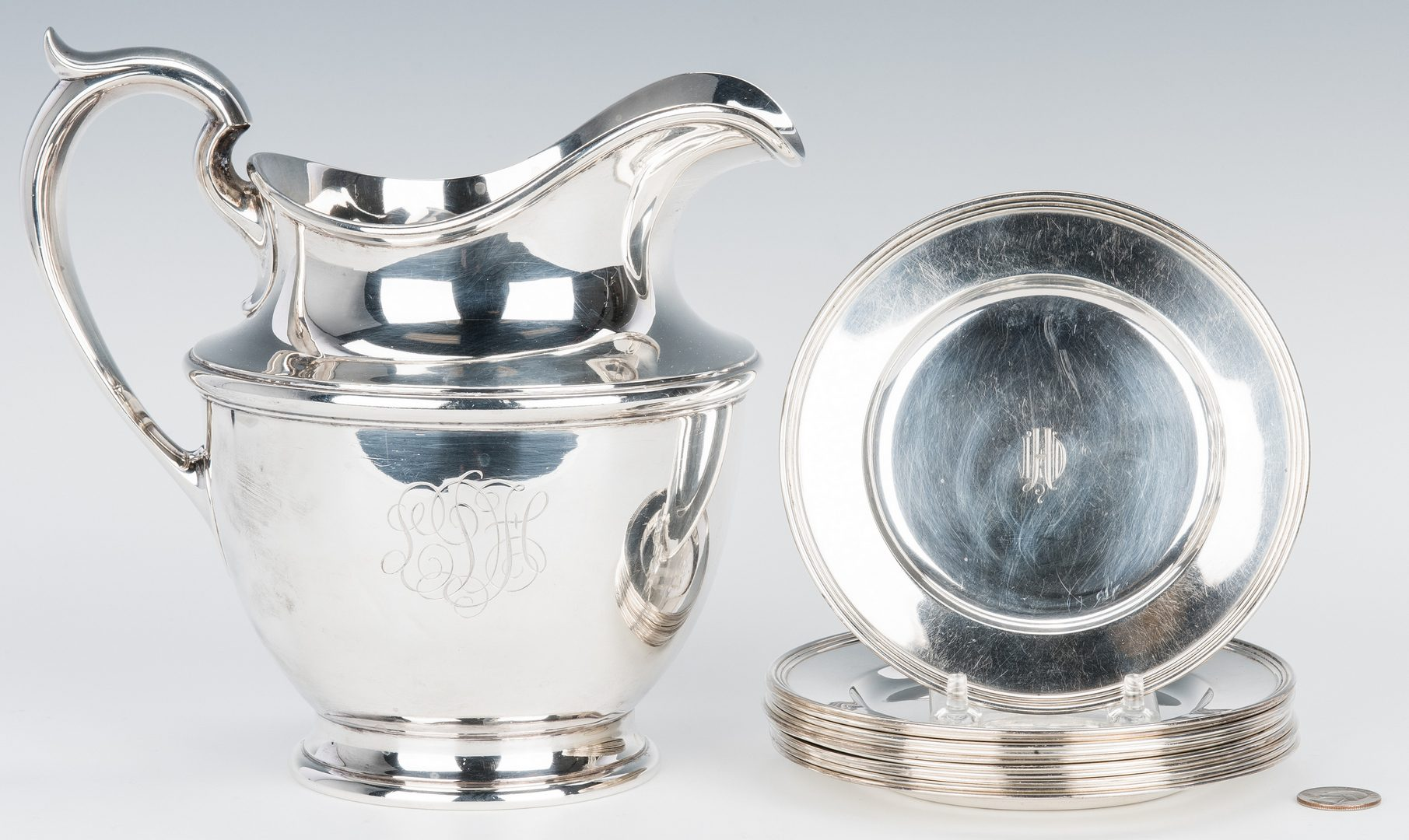 Lot 63: 12 Sterling Items Incl. Durgin Co. Water Pitcher