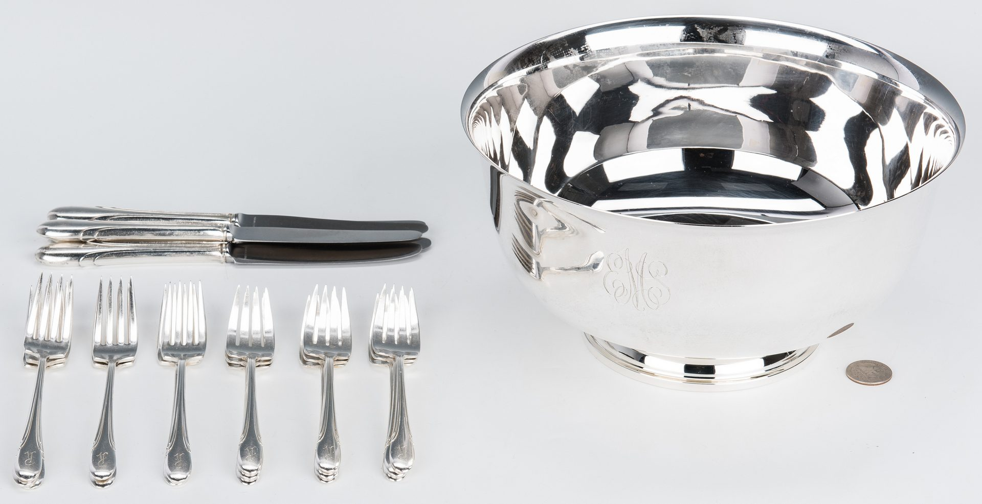 Lot 65: Paul Revere Sterling Bowl & Assorted Flatware, 22 pcs.