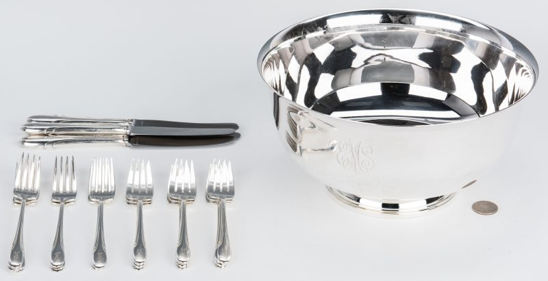 Lot 65: Paul Revere Sterling Bowl & Assorted Flatware, 22 pcs.