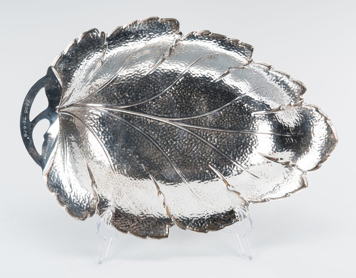 Lot 71: Large Hammered Sterling Leaf Dish