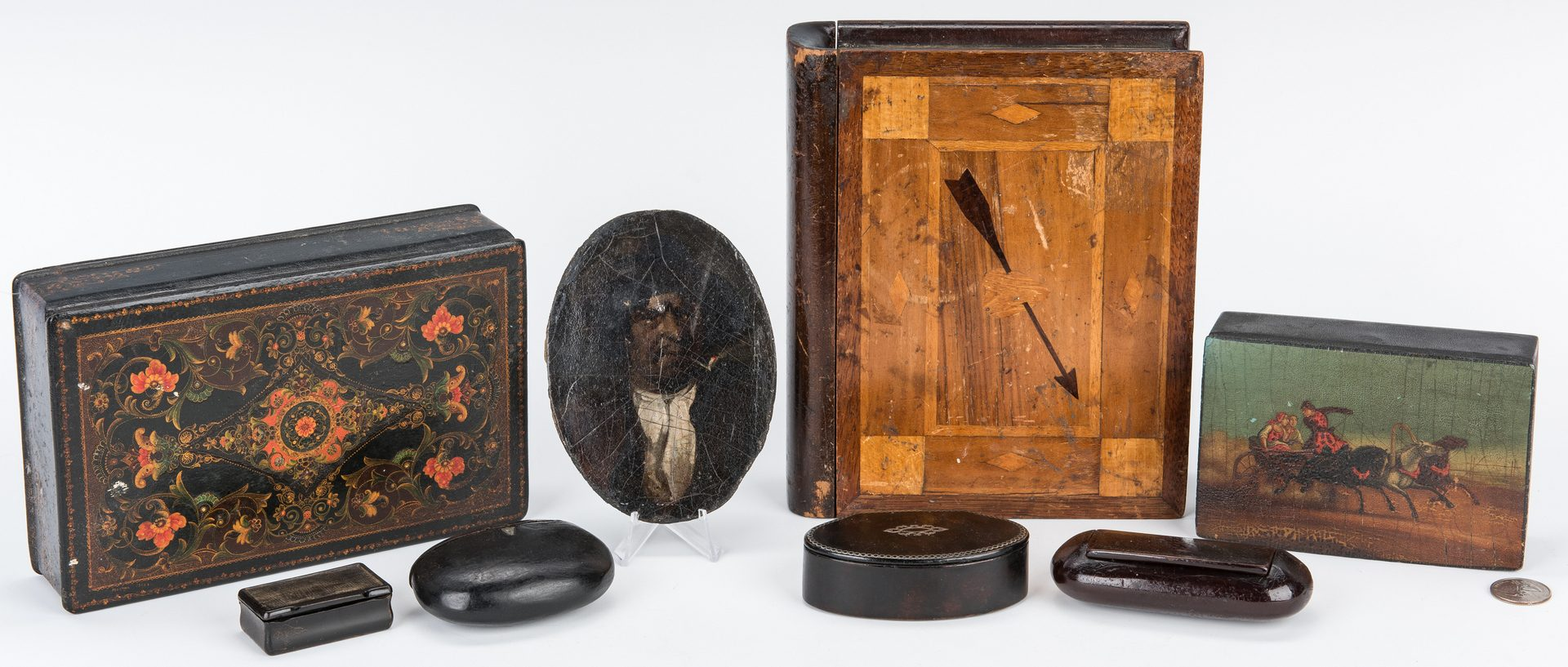 Lot 73: 8 American & European Decorative Wood Items