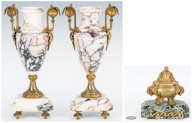 Lot 75: Pair Marble Gilt Bronze Urns & Gilt Bronze Inkwell