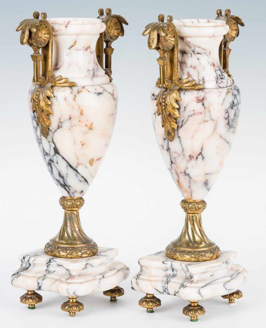 Lot 75: Pair Marble Gilt Bronze Urns & Gilt Bronze Inkwell