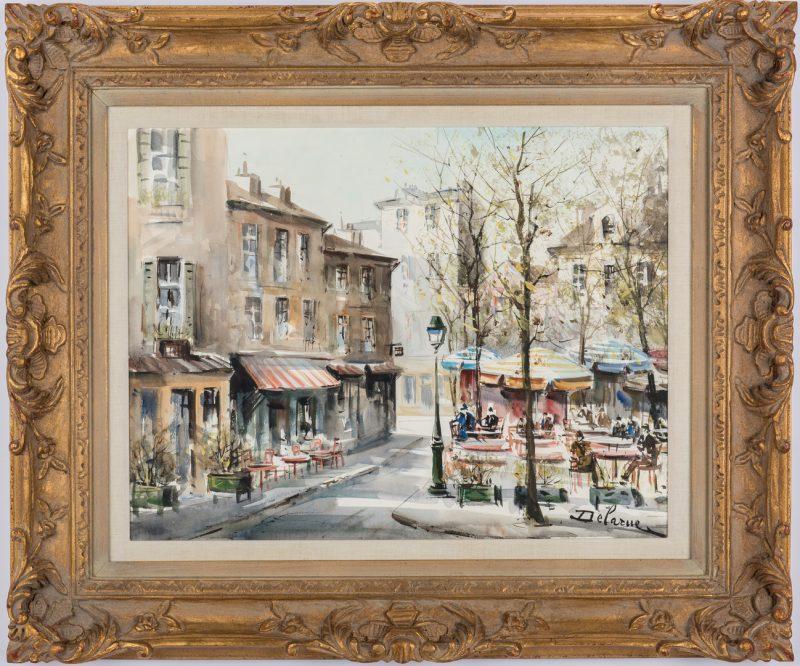 Lot 79: Lucien Delarue Watercolor Parisian Street Scene w/ Cafe