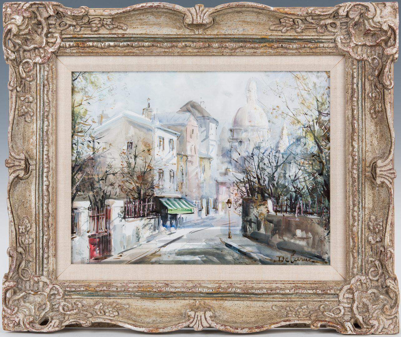Lot 80: Lucien Delarue Watercolor Parisian Street Scene