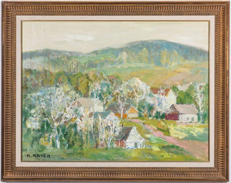Lot 82: Henryk Krych O/C Painting, Impressionistic Landscape