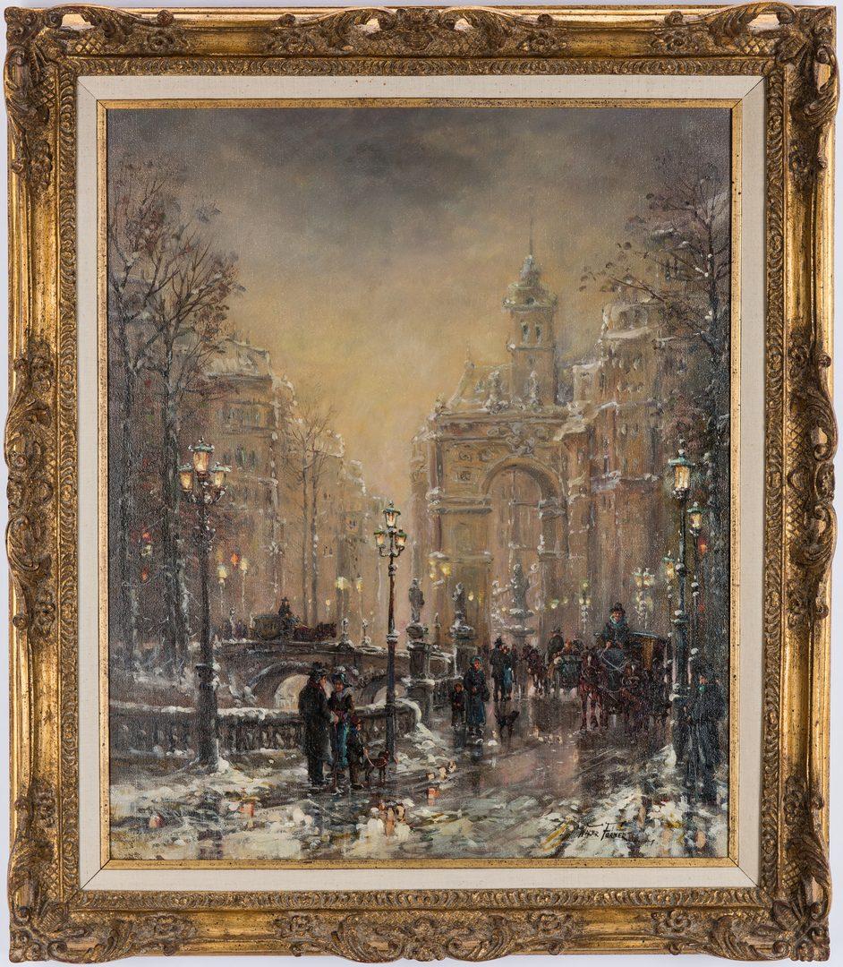 Lot 83: Walter Forner O/C Painting, Parisian Winter Street Scene