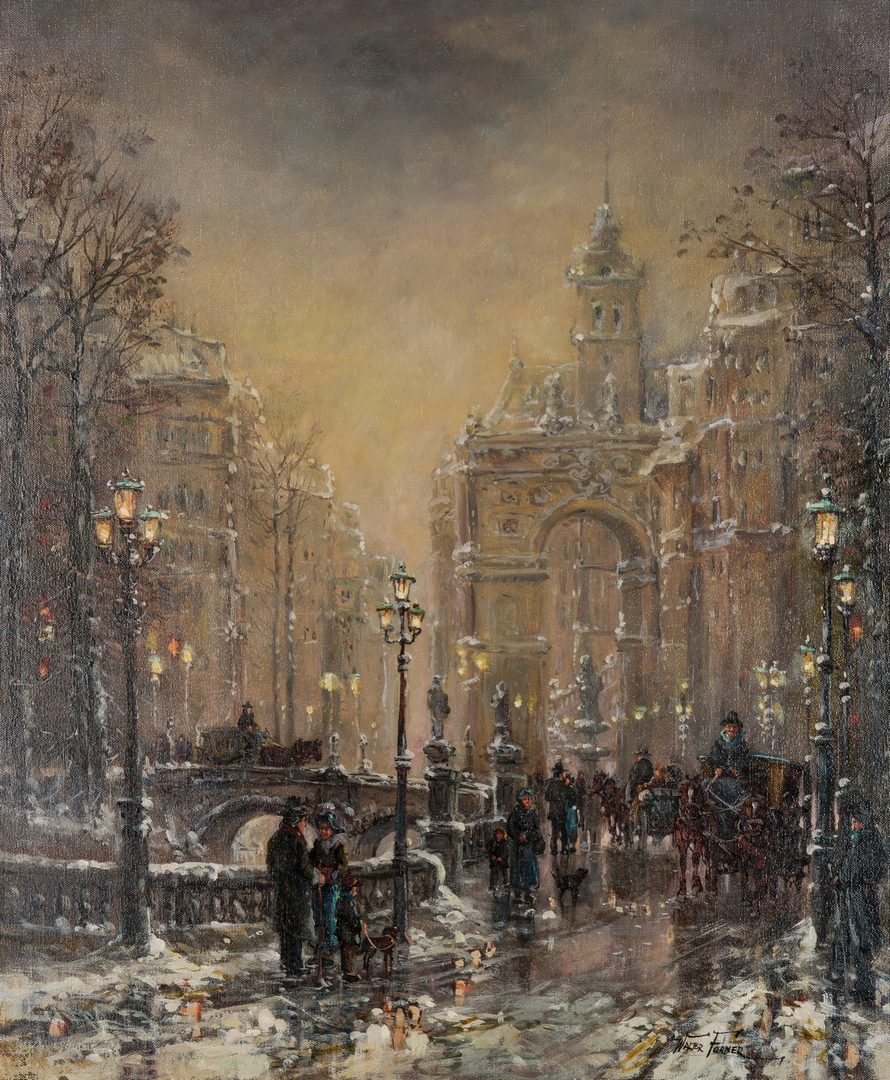Lot 83: Walter Forner O/C Painting, Parisian Winter Street Scene