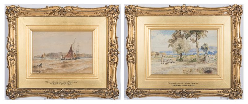 Lot 85: 19th C. Watercolor Landscape and Seascape by T. Hardy, Yeend-King