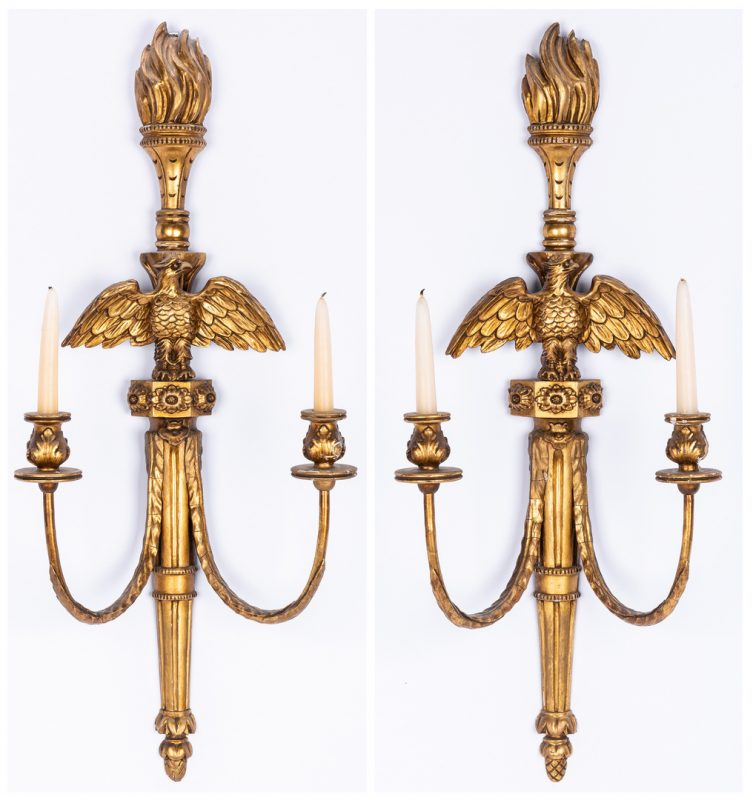 Lot 87: Pr. Neoclassical Giltwood Eagle Sconces