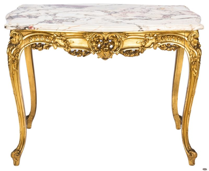 Lot 88: Louis XV Style Gilt Carved Console Table w/ Marble Top
