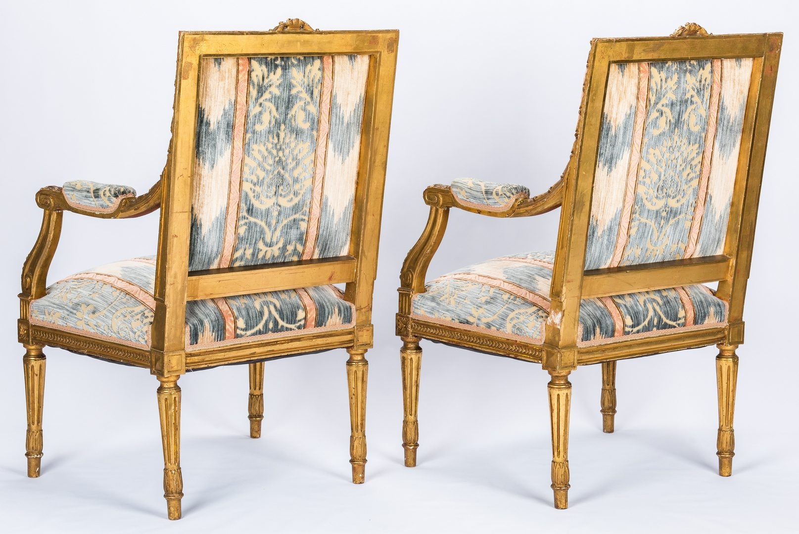 Lot 89: Pr. French Louis XVI Style Gilt Carved  Armchairs