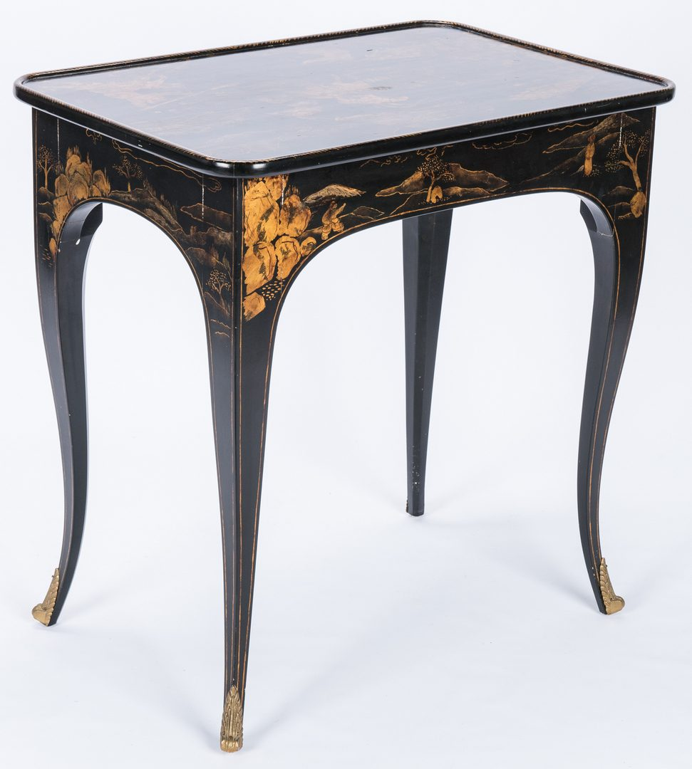 Lot 92: Trouvailles Black Lacquer Chinoiserie Side Table