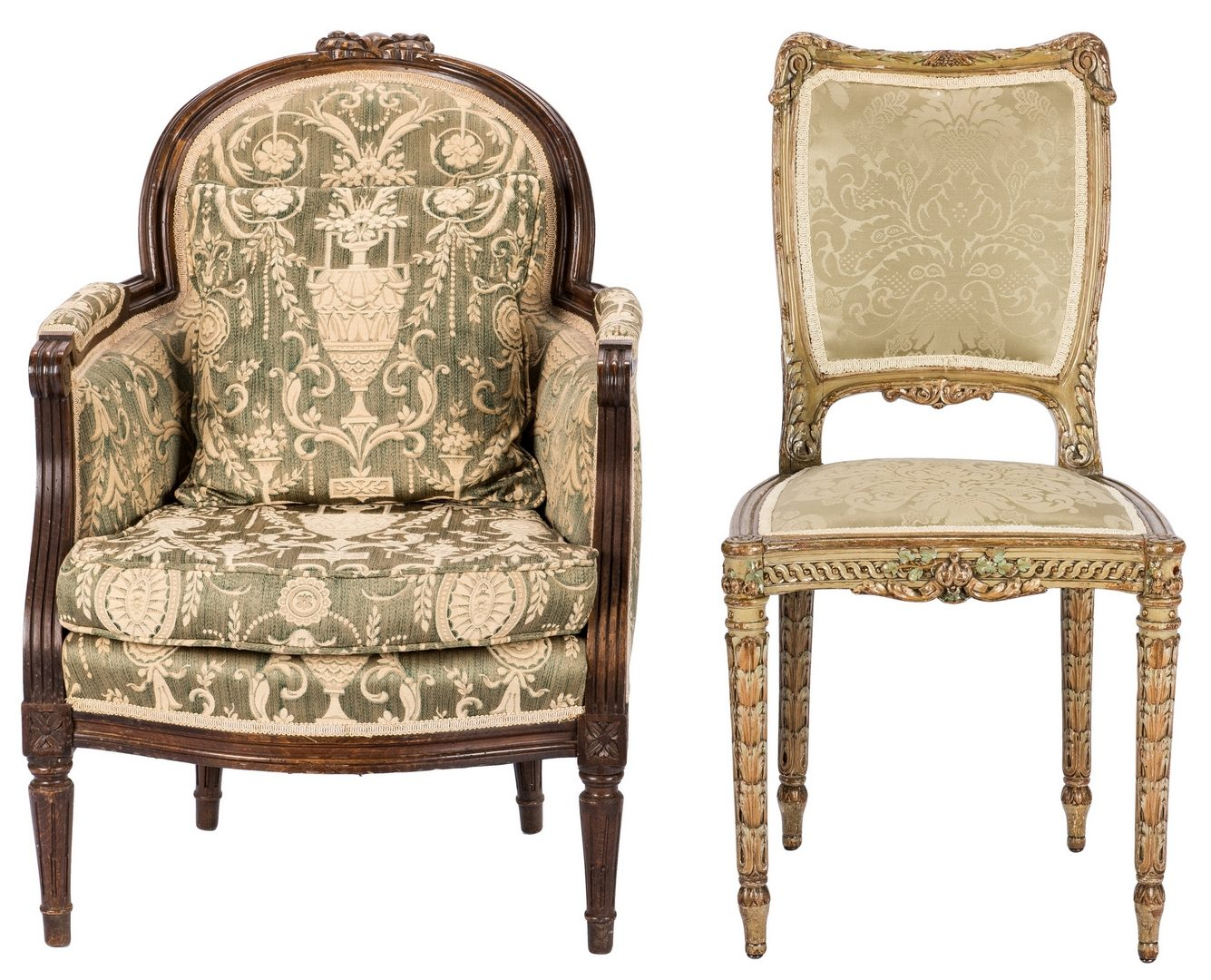 Lot 93: Continental Armchair and Side Chair