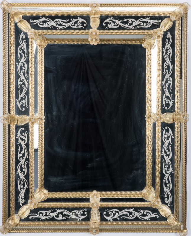 Lot 97: Venetian Style Etched Glass Mirror w/ Gold Highlights